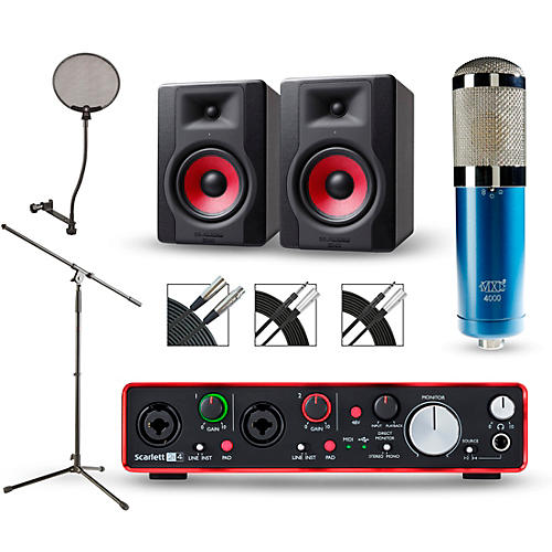 focusrite scarlett 2i4 recording package with mxl 4000 and m audio limited edition bx5 pair. Black Bedroom Furniture Sets. Home Design Ideas