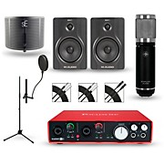 Focusrite Scarlett 6i6 Recording Package with Sterling ST59 and M-Audio BX5 Pair