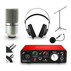 Focusrite Scarlett Solo Recording Bundle with MXL Microphone and AKG Headphones