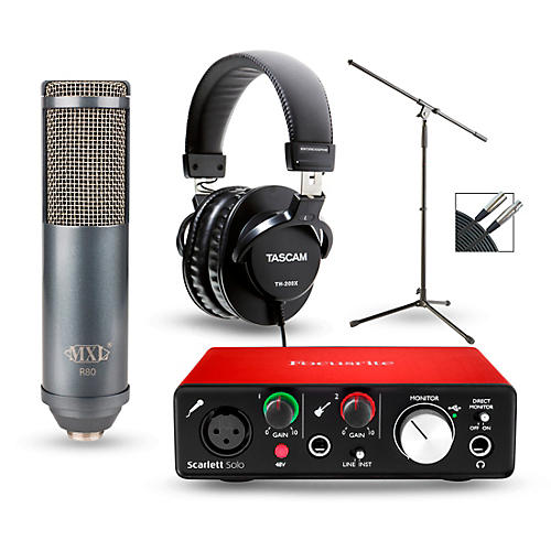focusrite scarlett solo recording package with r80 ribbon microphone and th 200x headphones. Black Bedroom Furniture Sets. Home Design Ideas