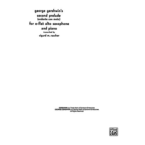 Alfred Second Prelude for Alto Sax By George Gershwin / arr. Sigurd Rascher Book