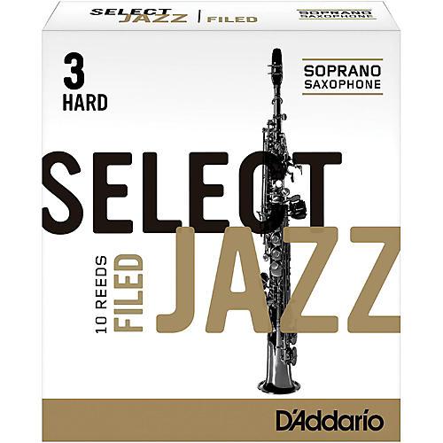 D'Addario Woodwinds Select Jazz Filed Soprano Saxophone Reeds Strength 3 Hard Box of 10