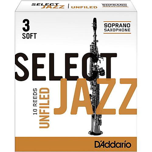 D'Addario Woodwinds Select Jazz Unfiled Soprano Saxophone Reeds Strength 2 Medium Box of 10-thumbnail