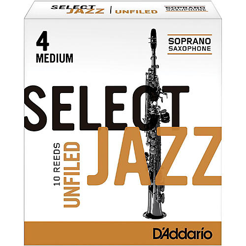 D'Addario Woodwinds Select Jazz Unfiled Soprano Saxophone Reeds Strength 4 Medium Box of 10