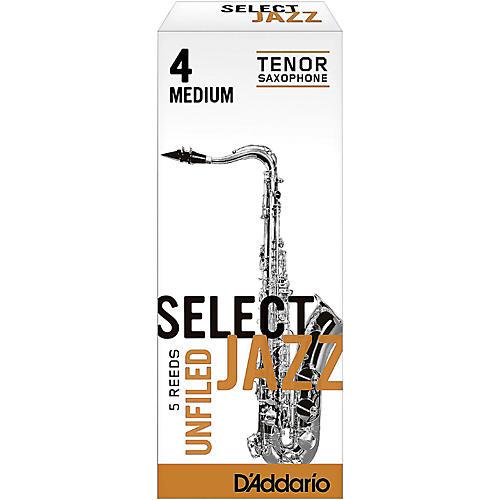 D'Addario Woodwinds Select Jazz Unfiled Tenor Saxophone Reeds Strength 4 Medium Box of 5