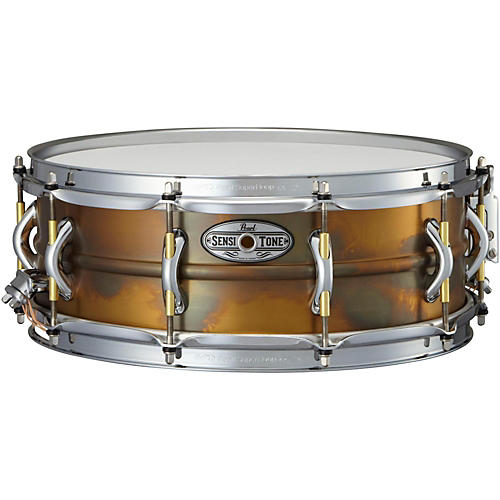 Pearl Sensitone Premium Beaded Patina Brass Snare Drum-thumbnail