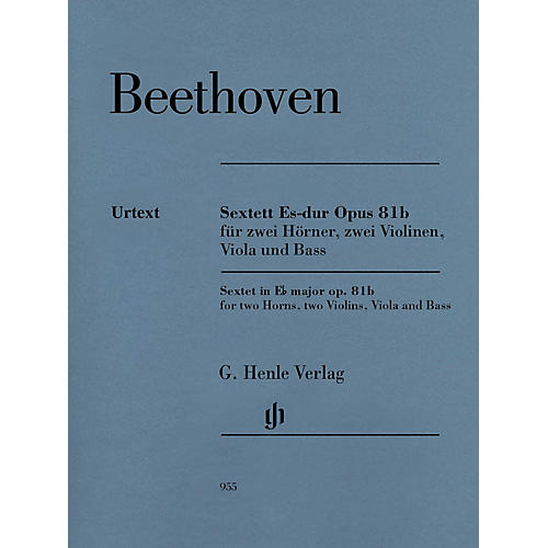 G. Henle Verlag Sextet in E-flat Major, Op. 81b Henle Music Folios Softcover by Beethoven Edited by Egon Voss