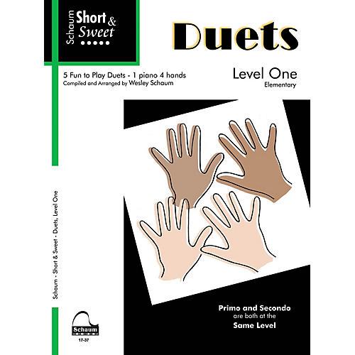 SCHAUM Short & Sweet: Duets (1 Piano, 4 Hands Level 1 Elem Level) Educational Piano Book