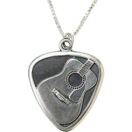 Jeffrey David Silver Guitar Pick with Acoustic Guitar Pendant and Chain-thumbnail