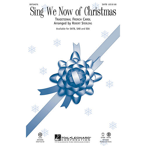 Hal Leonard Sing We Now of Christmas SAB Arranged by Robert Sterling