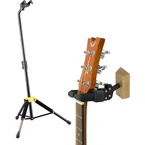 hercules stands single guitar stand with free wallmount guitar hanger guitar center. Black Bedroom Furniture Sets. Home Design Ideas