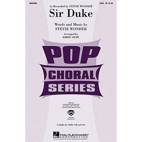 Hal Leonard Sir Duke SATB by Stevie Wonder arranged by Kirby Shaw