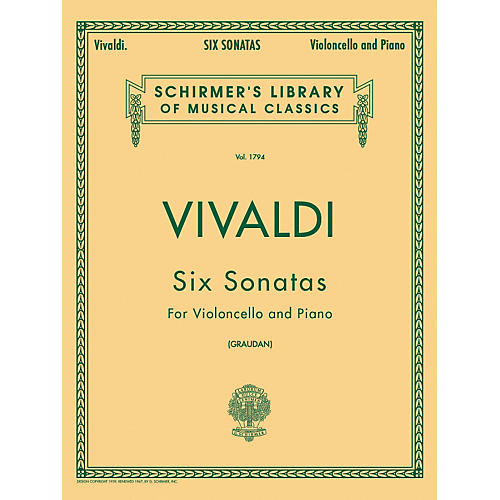 G. Schirmer Six Sonatas for Violoncello And Piano By Vivaldi-thumbnail