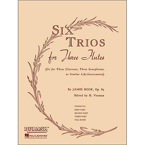 Hal Leonard Six Trios for Three Flutes Third Part Op 83-thumbnail