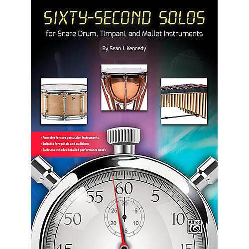 Alfred Sixty-Second Solos For Snare Drum, Timpani, and Mallet Instruments Book