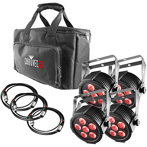 CHAUVET DJ SlimPACK Q6 USB - 4 SlimPAR Q6 USB Wash Lights and 3 DMX Cables with Gear Bag-thumbnail