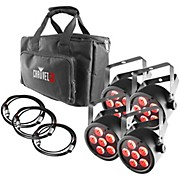 Chauvet DJ SlimPACK T6 USB - 4 SlimPAR T6 USB Lights and 3 DMX Cables with Gear Bag