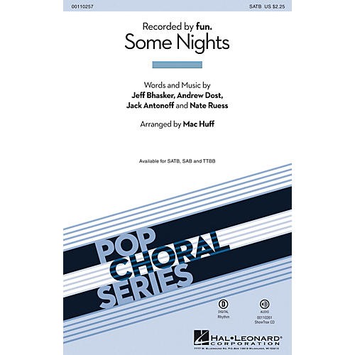 Hal Leonard Some Nights (2-Part Mixed) 2-Part by fun. Arranged by Mac Huff