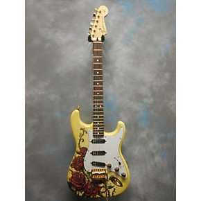 used fender spc edition david lozeau rose tattoo strat solid body electric guitar guitar center. Black Bedroom Furniture Sets. Home Design Ideas