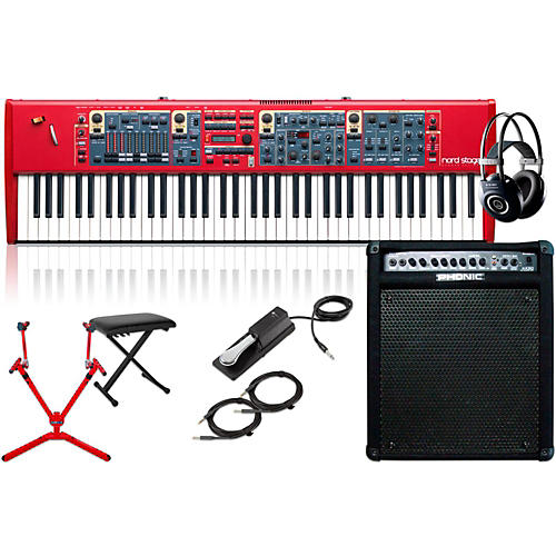 Nord Stage 2 HA76 76-Key with Keyboard Amplifier, Matching Stand, Headphones, Bench, and Sustain Pedal