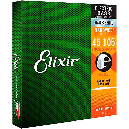 Elixir Stainless Steel 4-String Bass Strings with NANOWEB Coating, Long Scale, Light/Medium (.045-.105)