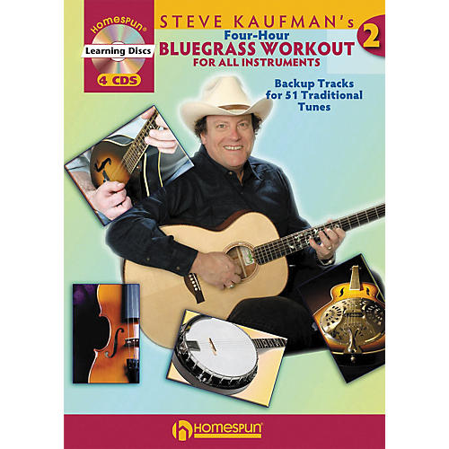 Homespun Steve Kaufman's Four-Hour Bluegrass Workout, Volume Two (Book with 4-CD Set)-thumbnail