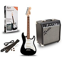 Strat Pack SSS Electric Guitar with Fender Frontman 10G Combo Amplifier Black