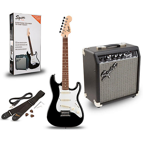 squier strat pack sss electric guitar with fender frontman 10g combo amplifier black guitar center. Black Bedroom Furniture Sets. Home Design Ideas