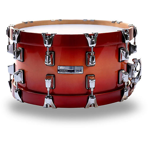 Taye Drums StudioMaple Snare Drum With Wood Hoops 14 x 7 Custom Natural To Candy Apple Red Burst Lacquer