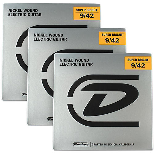 Dunlop Super Bright Light Nickel Wound Electric Guitar Strings (9-42) 3-Pack-thumbnail
