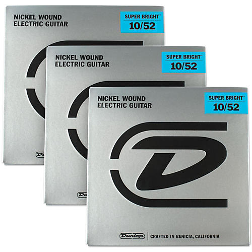 Dunlop Super Bright Light Top/Heavy Bottom Nickel Wound Electric Guitar Strings (10-52) 3-Pack-thumbnail