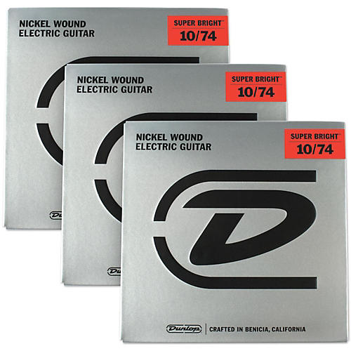 Dunlop Super Bright Medium Nickel Wound 8-String Electric Guitar Strings (10-74) 3-Pack-thumbnail