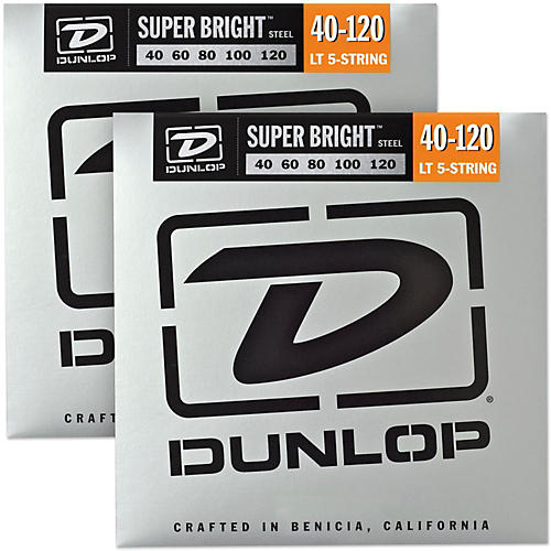 Dunlop Super Bright Steel Light 5-String Bass Guitar Strings (40-120) 2-Pack