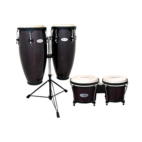 toca synergy conga set with stand and bongos transparent black guitar center. Black Bedroom Furniture Sets. Home Design Ideas