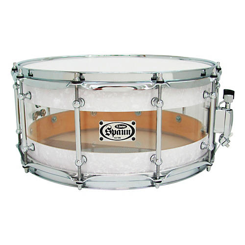 Spaun TL USA Hybrid Snare White Pearl and Clear Acrylic 6.5x14