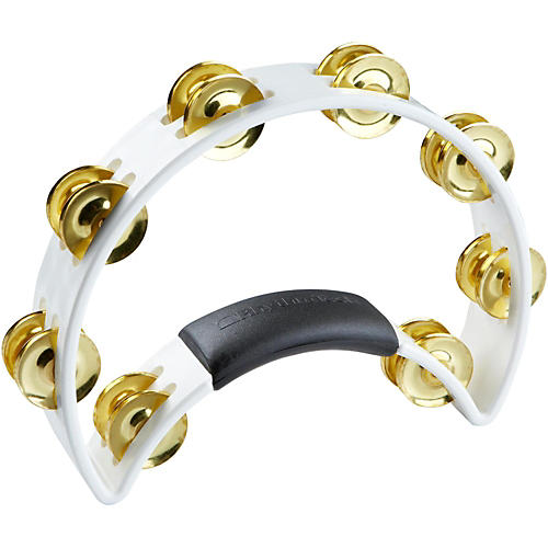 RhythmTech Tambourine with Brass Jingles White 9.5 In