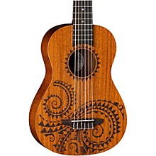 Luna Guitars Tattoo 6 String Baritone Satin Mahogany Ukulele with Gigbag