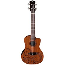 Luna Guitars Tattoo Mahogany Concert Acoustic-Electric Ukulele Level 1 Mahogany with Tattoo Laser Etching and Satin Finish
