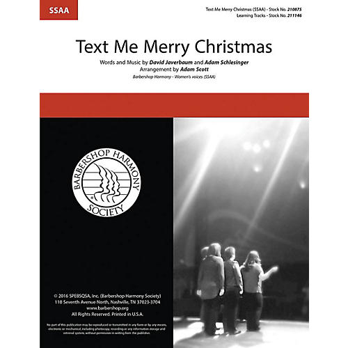 Barbershop Harmony Society Text Me Merry Christmas SSAA A Cappella arranged by Adam Scott