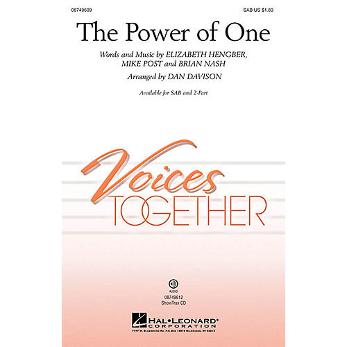 Hal Leonard The Power of One 2-Part Arranged by Dan Davison