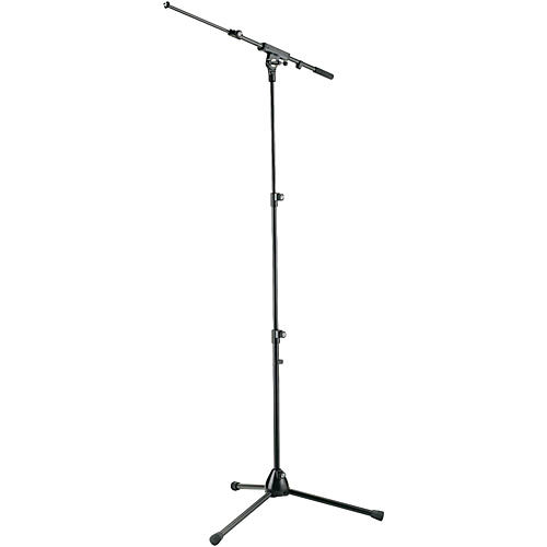 K&M Three-Section Tripod Microphone Stand With Adjustable Boom Arm - Black