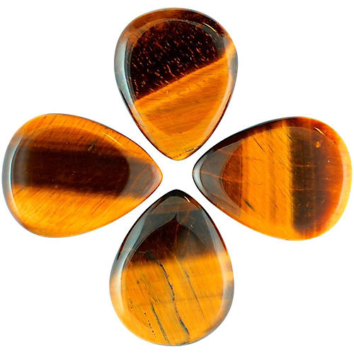 Timber Tones Tiger Tones Gold Tiger Eye Single Plectrum Guitar Pick