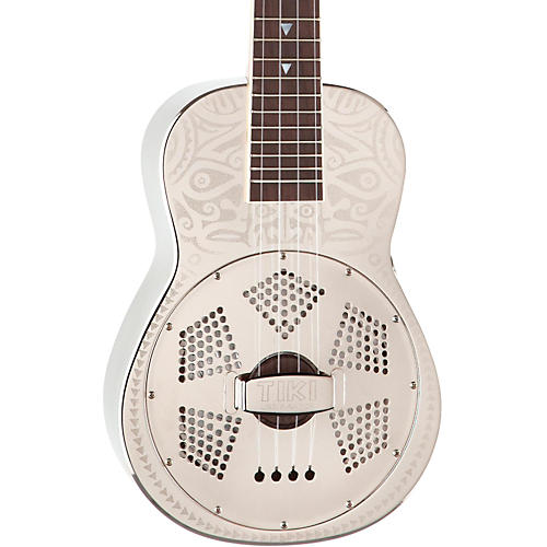 Luna Guitars Tiki Resonator Concert Ukulele Chrome Plated