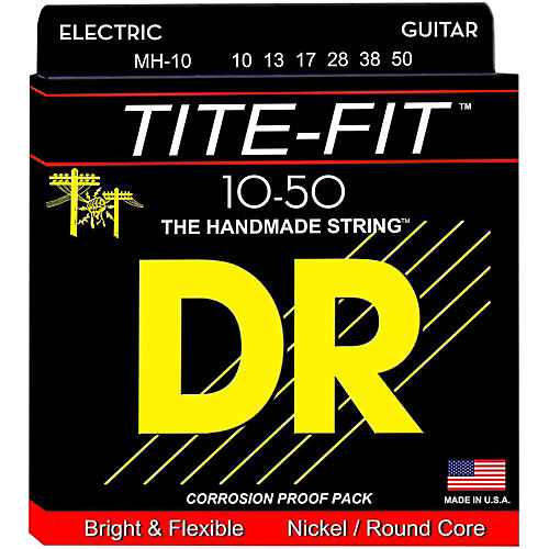 DR Strings Tite-Fit MH-10 Medium-Heavy Nickel Plated Electric Guitar Strings-thumbnail
