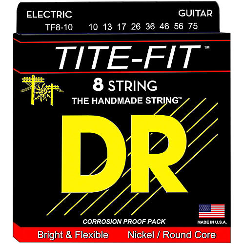 DR Strings Tite-Fit Nickel Plated Medium 8-String Electric Guitar Strings (10-75)-thumbnail