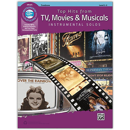 Alfred Top Hits from TV, Movies & Musicals Instrumental Solos Trombone Book & CD, Level 2-3-thumbnail