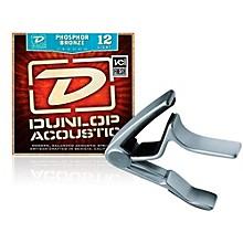 Dunlop Trigger Curved Nickel Capo andPhosphor Bronze Light Acoustic Guitar Strings