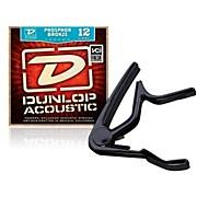 Dunlop Trigger Flat Black Capo andPhosphor Bronze Light Acoustic Guitar Strings