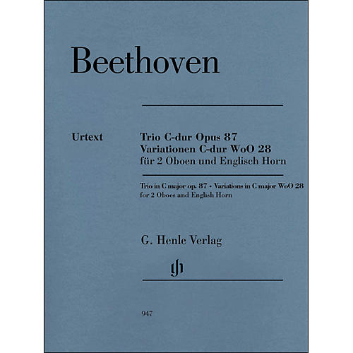 G. Henle Verlag Trio In C Major Op. 87 Variations In C Major Woo28 for 2 Oboes And English Horn By Beethoven / Voss