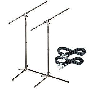 Musicians Gear Tripod Microphone Stand with 20 Foot Microphone Cable 2 Pack